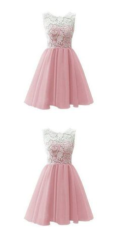 Pink Homecoming Dress,Homecoming Dresses,Lace Homecoming Gowns,Short Prom…
