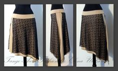 Double layer black and beige skirt with side slit.
