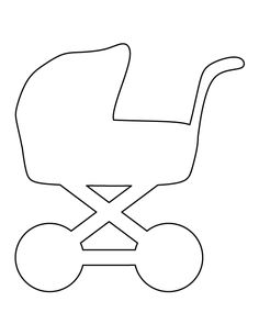 Baby carriage pattern. Use the printable outline for crafts, creating stencils, scrapbooking, and more. Free PDF template to download and print at http://patternuniverse.com/download/baby-carriage-pattern/