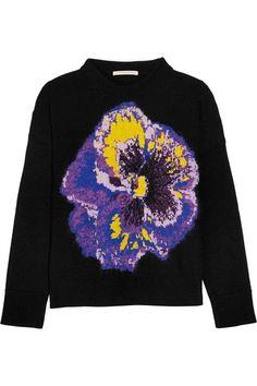 Christopher Kane - Intarsia Wool-blend Sweater - Black