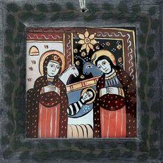 Icoana pictata pe sticla Nasterea