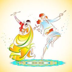 Illustration of illustration of couple playing dandiya on rangoli vector art, clipart and stock vectors. Dance Paintings, Indian Paintings, Holi Painting, Holi Theme, Happy Navratri Images, Adult Art Classes, Navratri Festival, Dancing Drawings, Event Poster Design
