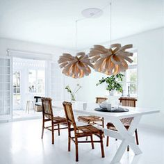 George is available in three different sizes and is ideal as the main feature in any space. Wood Veneer, Cool Lighting, Dining Table, Bulb, Lights, Furniture, Space, Color, House