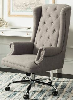 18 Modern Farmhouse Office Chairs for Your Workspace - Finding Sea Turtles Cozy Home Office, Home Office Setup, Home Office Chairs, Farmhouse Office Chairs, Grey Desk Chair, Bankers Chair, Comfortable Office Chair, Rustic Chair, New Living Room