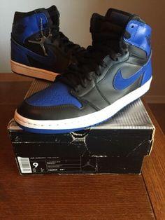 "Details about 2017 Nike Air Jordan 1 Retro High OG ""Royal Blue"" Black White Size  10.5 Preowned c32a69e13"