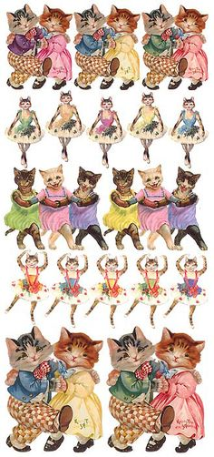 Vintage dancing cat stickers for Easter crafting Vintage Cat, Vintage Easter, Vintage Images, Dancing Animals, Dancing Cat, Vintage Printable, Backgrounds Wallpapers, Decoupage, Cat Stickers
