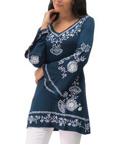 Loving this Caite Navy Embroidered Paige Tunic - Women & Plus on #zulily! #zulilyfinds