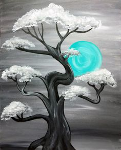 100 Artistic Acrylic Painting Ideas For Beginners Once in a teal blue moon. 80 Artistic Acrylic Painting Ideas For Beginners Diy Canvas, Canvas Art, Painting Canvas, Canvas Ideas, Acrylic Painting Trees, Black Canvas Paintings, Beach Canvas, Simple Acrylic Paintings, Acrylic Canvas