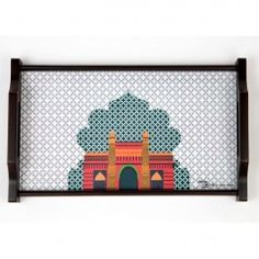 Kuheli Palace Door Tray : This Kuheli Dining Tray is a colourful palette of the charm of a princely palace. The rectangular tray is available in 3 sizes. It is made of wood and has an elegant, royal shape handle.