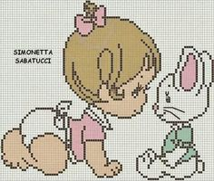 punto croce - idee a punto croce. Cross Stitch For Kids, Cross Stitch Borders, Cross Stitch Baby, Cross Stitching, Cross Stitch Embroidery, Cross Stitch Patterns, Beading Patterns, Knitting Patterns, Anime Pixel Art