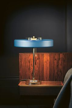 The Bert Frank Revolve Table Lamp is a striking light offering a warm glow to any surface through its opal diffuser. Light Table, Lamp Light, A Table, Lamp Design, Lighting Design, Design Table, Design Design, House Design, Bauhaus