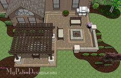 Create a colorful and beautiful outdoor living area you will love to spend time on all summer long with our Rear Paver Patio Design with Pergola, Fireplace & Bar. Diy Pergola, Deck With Pergola, Outdoor Pergola, Pergola Shade, Pergola Ideas, Patio Ideas, Metal Pergola, Wooden Pergola, Patio Roof