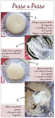 A nossa receita de iogurte já é sucesso total! E hoje vou mostrar pra vocês como preparar o grego, a partir da receita original É muito simples mesmo. O primeiro passo é preparar a receita básica d…