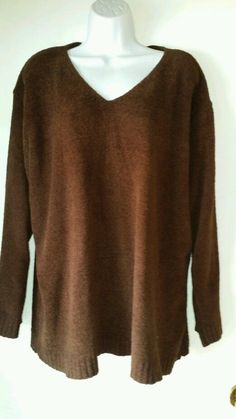 Roaman's Ladies Chocolate Brown V-Neck Pullover Top-Super Soft & Comfy! 1X EUC! #Roamans #KnitTop #Casual