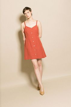 Side Party - Rust Joey Buttoned Dress | BONA DRAG