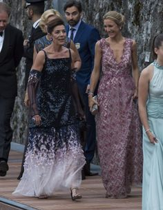 MOTHERS OF THE BRIDE AND GROOM~ Princess Caroline of Monaco and Hanover, mother of Pierre Casiraghi, walks with Contessa Paola Marzotti, mother of the bride, Beatrice Borromeo.