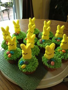 Peep cupcakes - grass tip icing, peeps and jellybeans