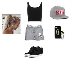 """""""sports day"""" by araceli-directioner ❤ liked on Polyvore featuring Topshop, Supra, OBEY Clothing, women's clothing, women, female, woman, misses and juniors"""