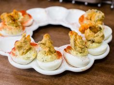 Lemon-Caper Deviled Eggs with Fried Oysters Recipe : Katie Lee : Food Network Food Network Recipes, Food Processor Recipes, Oyster Recipes, Egg Recipes, Brunch Recipes, Breakfast Recipes, Recipies, Dinner Recipes, Bobby Flay Recipes
