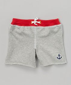 Look at this #zulilyfind! Gray & Red Anchor Shorts - Infant by Baby Starters #zulilyfinds
