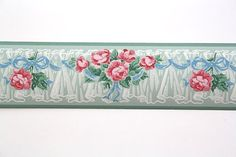 Full Vintage Wallpaper Border TRIMZ  Pink Roses  by FondlyVintage, $15.00