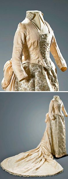 Brocaded wedding dress with train, ca. 1882. New Mexico History Museum