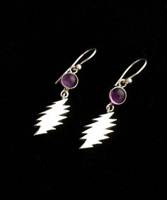 13 Point Lightning Bolt and Amethyst Earrings by 100mics on Etsy