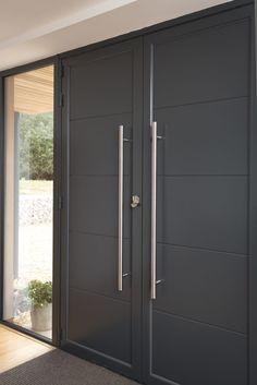 Origin Front Doors for Added Security Modern Entrance Door, Main Entrance Door Design, Modern Wooden Doors, Modern Exterior Doors, Contemporary Front Doors, Modern Front Door, House Front Door, Front Door Design, Grey Front Doors