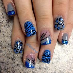 Blue Lepoard Nail Design.