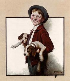 Boy With Puppies    -   Norman Rockwell