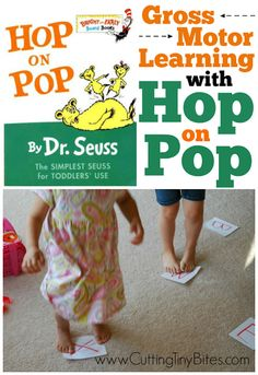 Practice the alphabet, numbers, sight words, and more with this fun and active Hop On Pop Gross Motor game via @cuttingtinybit.