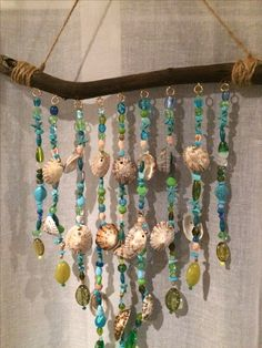 This glass beaded wind chime and sun catcher is the perfect way to brighten your patio, yard, a kitchen window or even a wall! Seashell Crafts, Beach Crafts, Diy And Crafts, Arts And Crafts, Seashell Wind Chimes, Diy Wind Chimes, Homemade Wind Chimes, Glass Wind Chimes, Driftwood Projects