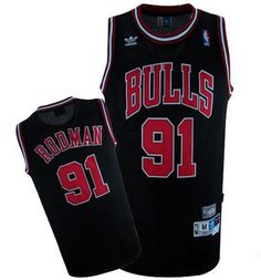 f4ee5cbf054 Adidas NBA Chicago Bulls 91 Dennis Rodman Swingman Throwback Black Jersey  Soccer Jerseys