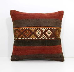 Antique Embroidered Patchwork Pillow Tribal by AnatoliaCollection