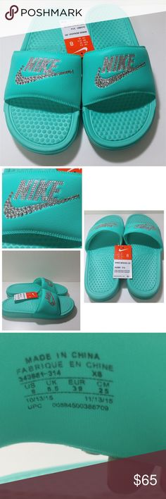 "Blinged outTiffany blue women's Benassi Jdi slides Blinged out Tiffany blue colored women's Benassi Jdi slides, size 8. NWT, never been worn. All jewels intact! Jewels on ""NIKE"" and the Nike swoosh. Nike Shoes Sandals"