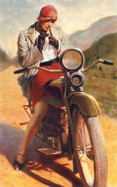 Flapper girl on motorcycle Vespa, Vintage Bikes, Vintage Art, Retro Bikes, Vintage Glam, Retro Cars, Vintage Travel, Girl Motorcycle, Motorcycle Posters