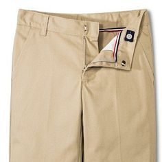 French Toast Boys' Double Knee Flat Front Pants - Khaki (Green) 7