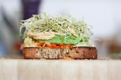 Humdinger Hummus, Carrot, Cucumber, Avocado, and Alfalfa Sprout Sandwhich