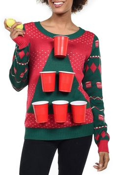 Women's Beer Pong Christmas Sweater Tipsy Elves womans ugly christmas sweater - Woman Knitwear and Sweaters Best Ugly Christmas Sweater, Christmas Sweaters For Women, Christmas Leggings, Funny Christmas Shirts, Diy Christmas Costumes, Christmas Clothes, Christmas Outfits, Halloween, Beer Pong