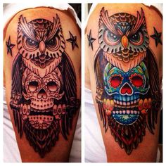 coolTop Meaningful Tattoos - Owl Tattoo before and after. By KooS at Skin illustrations Overland Park Kansas Best Leg Tattoos, Cool Small Tattoos, Small Tattoo Designs, New Tattoos, Tattoos For Guys, Sugar Skull Owl, Sugar Skull Tattoos, Forarm Tattoos, Sleeve Tattoos