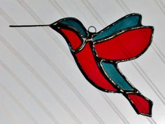 Hummingbird Stained Glass Sun Catcher Red and by JBsGlassHouse
