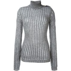Balmain Roll Neck Jumper (€1.045) ❤ liked on Polyvore featuring tops, sweaters, grey, grey top, ribbed top, grey long sleeve sweater, long sleeve jumper and long sleeve tops
