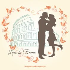 In Rome, love illustration vector International Kissing Day, Watercolor City, Skyline Design, Romantic Images, Couple Illustration, Panoramic Images, Rome Travel, Butterfly Pattern, Banner Template