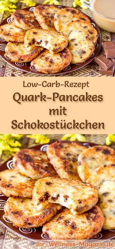 Low-Carb-Rezept für Quark-Pancakes mit Schokostückchen: Kohlenhydratarmes Frühstück - gesund, kalorienreduziert, ohne Getreidemehl ... #lowcarb #frühstück