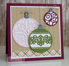 Christmas Ornaments card by Kerri Michaud #Cardmaking, #TEMatched, #Christmas, #TE, #ShareJoy
