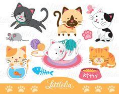 Lovely cat clipart cute cat clipart cat lover clipart