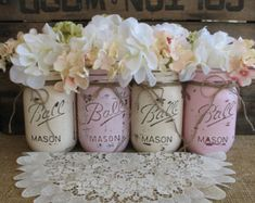 Pint Mason Jars, Ball jars, Painted Mason Jars, Flower Vases, Rustic Wedding Centerpieces, Light Pink and Creme Mason Jars  blush wedding