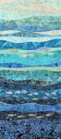 Fiber Art Quilts rhythm of the sea - Crochet Quilling Ideas Art sea Ocean Quilt, Beach Quilt, Fiber Art Quilts, Textile Fiber Art, Acrylic Landscape, Art Fibres Textiles, Rhythm Art, Rhythm In Design, Art Quilling