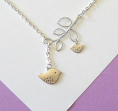 Matte Silver Mom and Baby Bird With Branch  Lariat Necklace, handmade jewelry. $21.00, via Etsy.
