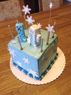 Precisely Housewifely: Minecraft's Frozen Themed Birthday Cake